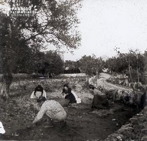 B020 Quotidien 4 femmes accroupies dans le jardin