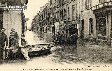 Caen, inondations, 31 décembre 1925 - 1er janvier 1926. Rue des Carmes