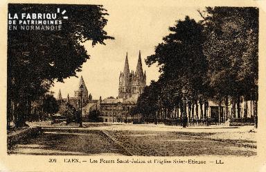 Caen, les fossés Saint-Julien et l'église Saint-Etienne
