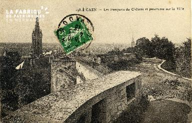 Caen, les remparts du château et panorama de la ville