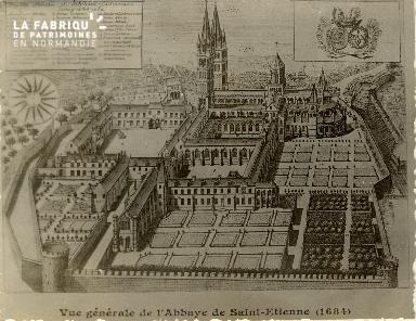 Caen, vue générale de l'Abbaye Saint Etienne (1684)