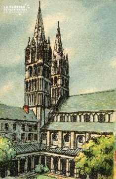 Caen, église Saint-Etienne (cloître et tours)