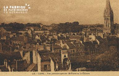 cl 01 093 Caen vue panoramiosue sur St-pierre et le château