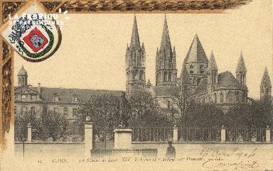 cl 01 095 Caen la statue de Louis XIV, le lycée et l'abbaye aux hommes