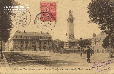 cl 01 183 Caen - Place Alexandre III, la caserne Hamelin et le monumen