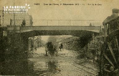 cl 02 004 Caen - Crue de l'Orne, 1er Décembre 1910- Rue de la Gare