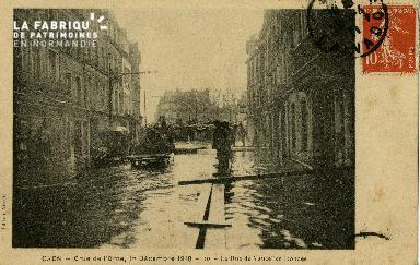 cl 02 005 Caen - Crue de l'Orne, 1er Décembre 1910-  la Rue de Vaucell
