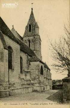 cl 02 128 Environs de Caen. Vaucelles. L'Eglise, Tour romane