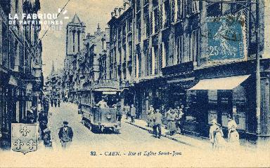 cl 03 087 Caen - La rue et église St-Jean
