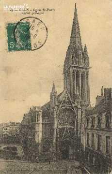 Cl 04 012 Caen- Portail principal de l'église St-Pierre