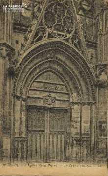Cl 04 068 Caen- l'église St-Pierre - Le grand portail