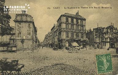 Cl 04 183 Caen- Le boulevard du Théâtre et la rue de strasbourg