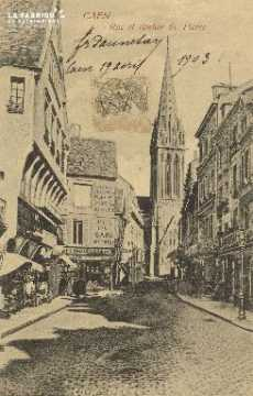 Cl 04 200 Caen- Rue et Clocher St-Pierre