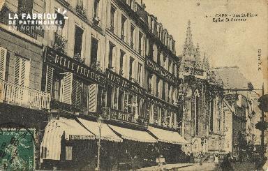 Cl 04 241 Caen- Rue St-Pierre et Eglise St-Sauveur