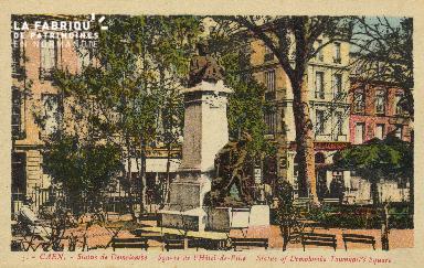 Cl 05 129 Caen- Statue de Demolombe Square de l'Hôtel de ville