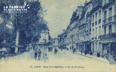 Cl 05 131 Caen- Place de la république et rue de Strasbourg
