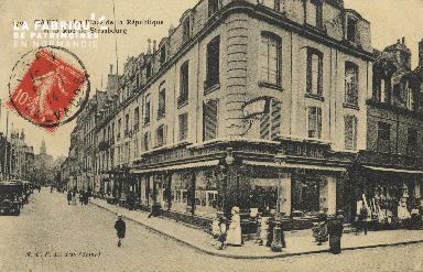 Cl 05 144 Caen- La place de la république et la Rue de Strabourg