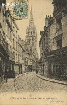 Cl 05 218 Caen- La Rue Froide et le Clocher de Saint-Sauveur
