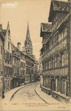Cl 06 007 Caen-la rue de géôle,maison dite des quatrans et clocher de