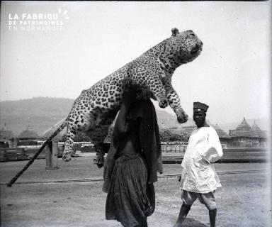 Afrique-Homme portant un guépard empaillé