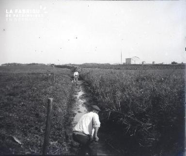 Hommes fauchant au bord d'un chemin
