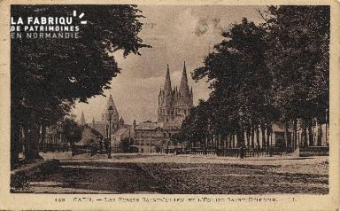 Cl 06 083 Caen-Les fossés St julien et l'église St Etienne