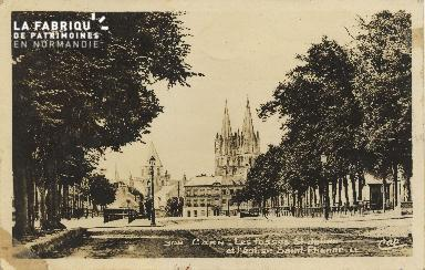 Cl 06 084 Caen-Les fossés St julien et l'église St Etienne