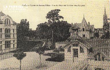 Cl 06 149 Caen-Lycée de jeunes flles-Vue du parc sur la cour des grand