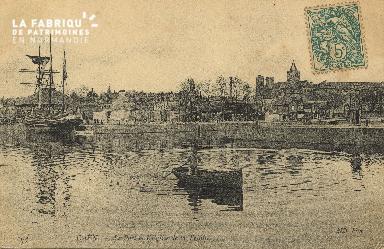 Cl 07 044 Caen - Le port et l'Eglise de la Trinité