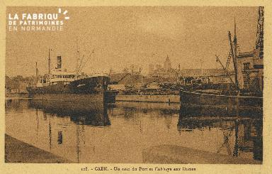 Cl 07 046 Caen - Un coin du port  et L'Abbaye aux dames