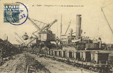 Cl 07 125 Caen - Chargement d'un train de Minerais dans le Port