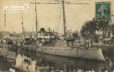 Cl 07 136 Caen - le Contre-Torpilleurs La Lance, à sa sortie du Port