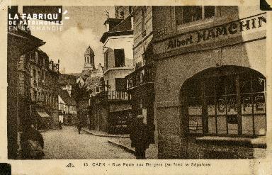 Cl 08 008 Caen rue Porte-au-Berger au fond le Sépulcre