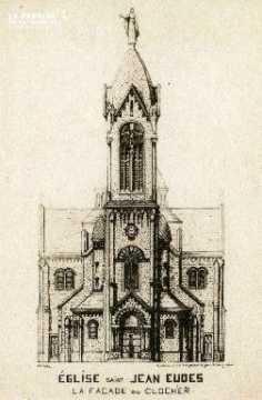 Cl 08 203 Caen Eglise St Jean Eudes Façade ou clocher