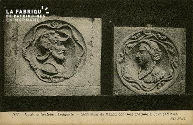 Cl 08 230 Caen Musée de Sculpture comparée Médaillons du Manoir des Ge