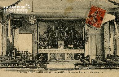 Cl 08 403 Caen Pensionnat St Joseph Chapelle, jour de 1ère Communion