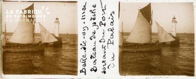 B001 Belle-Ile-en-Mer, bateau de pêche sortant du port du Palais