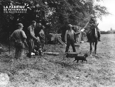 """Groupe de soldats américains avec la mascotte """"Patché"""""""