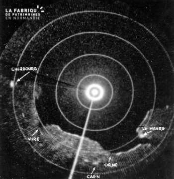 Image provenant d'un radar (Cherbourg, Le Havre, Caen, Vire, fleuve l'Orne)
