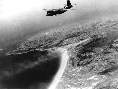 Vue aérienne des plages du Débarquement