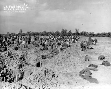 Cimetière provisoire : des prisonniers allemands creusent des tombes (secteur Omaha beach).