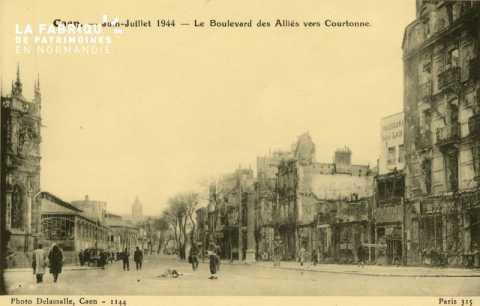 Caen- Juin,Juillet 1944 -Boulecard des Alliés vers Courtonne