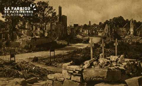 Caen Juin,Juillet 1944- Ensemble sur le Quartier St-Sauveur et notre dame