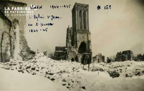 Caen  1944--45 L'Eglise St-Jean en Hiver