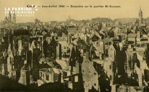 Caen Juin,Juillet 1944- Ensemble sur le quartier Singer