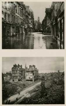 Carte postale de Caen : inondation et ruines en 1944