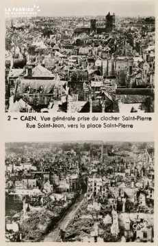 Caen- Vue Générale prise du Clocher St-Pierre, rue St-Jean vers la Place St-Pierre