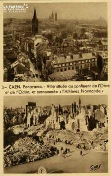 Caen -Ville située au confluent de l'Orne et de l'Odon et surnommée l'Athène Normande