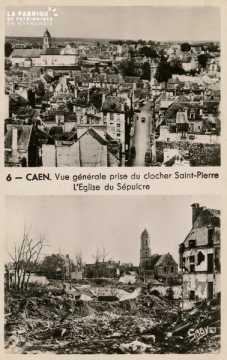 Caen- Vue générale du clocher St-Pierre, l'Eglise du Sépulcre