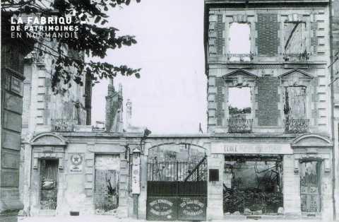 Caen detruit_1944_rue Meluigue_7-9 garage Blacet adroite annexe ecole Eudine